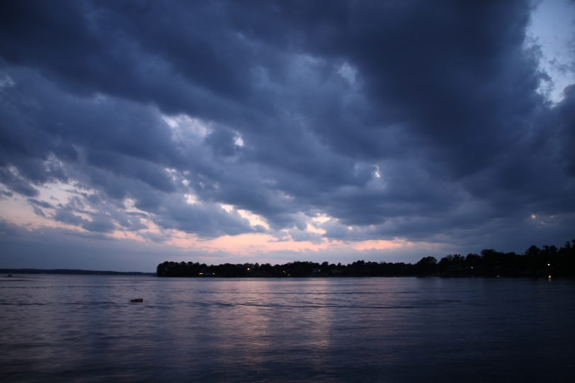 dark blue clouds over Lake Murray in evening
